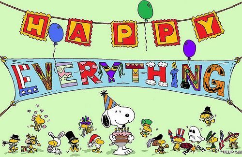 Snoopy is having an Everything Party because he is so happy.