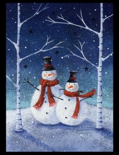 2 snowmen in the woods