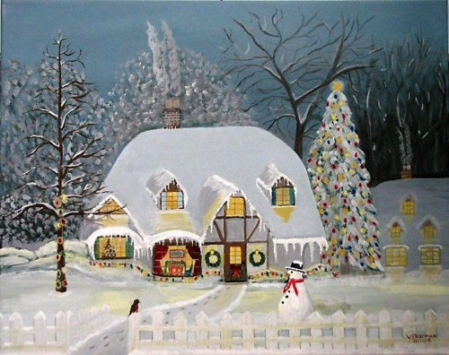 snow cottage with snowman