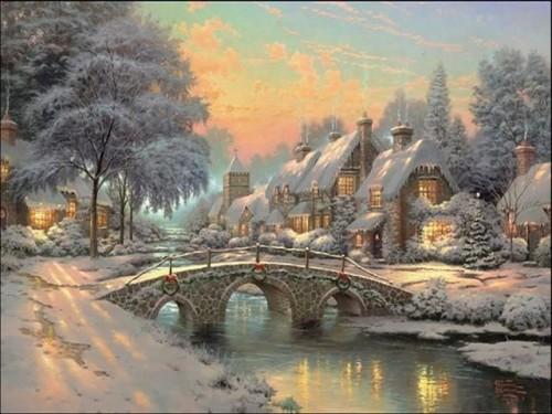 snow house with bridge